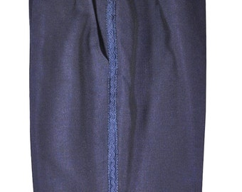 34 to 36 Adjustable Waist / 30.5 Inseam Men's Navy Blue Pants with Unique Detailing on Outside Seams