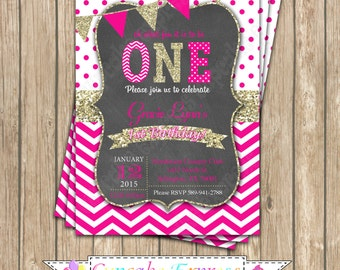 Invitation One First Birthday girl hot pink gold PRINTABLE  Chalkboard Invitation #2  chevron polka dot glitter 1st birthday - 1032