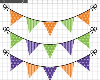 Halloween Bunting Clipart,  Halloween Graphics, Halloween Clip Art, Polka Dot & Stripes, Commercial Use, Instant Download