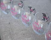 Girls weekend glasses.  Chevron stemless wine glasses.  Monogrammed glasses, bridesmaid glass, Wine glass with chevron monogram and name.