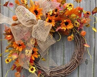 Fall Wreaths, Wreaths for Front Door, Burlap Wreath, Sunflower Wreath, Front Door Wreath, Front Door Decoration, Door Wreath, Horns Handmade