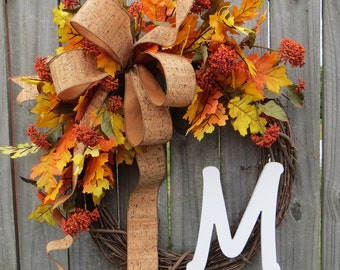 Wreaths fall wreath autumn wreath monogram wreath cork wreath front door wreath cork bow Thanksgiving fall door wreaths