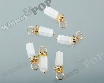 1 - Gold Plated White Glass Beads Crystal Faceted Rhinestone Pendant Charm Beads, Glass Rhinestone Charms, 25mm x 7mm (R8-175)