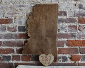 Custom Wooden State Wedding Guestbook - 2 ft Mississippi in Distressed Chestnut- any state/country available in many colors