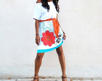 Colorful, Bohemian White Dress , SMILE , Inspirational Skirt, Flower, Positive, Fashion, Off Shoulder,  Made in Spain
