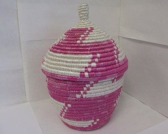 Large Pink and White Handmade Woven Basket - Nyaka, Uganda, African, Kitchen, Home Decor, Decorative, Fair Trade, Upcycled, Non-Profit, Gift