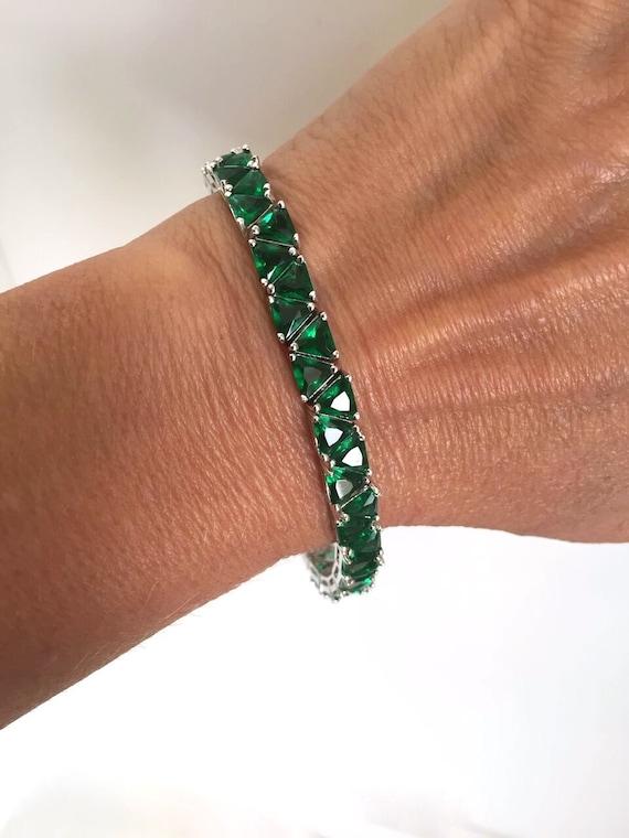 Vintage Emerald Green Stone Estate Bracelet Tennis Bracelet