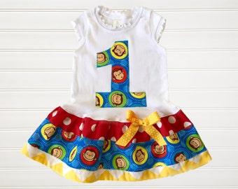Girls Custom Dress Girls Monkey Dress Number Dress Birthday Dress Girls Dress Baby Dress Girls Clothing Available in  6 months through 6/8