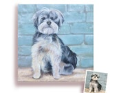 12x12 custom dog portrait from photo hand painted pet painting on canvas art schnauzer Valentine's day gift