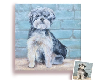 12x12 custom dog portrait from photo hand painted pet painting on canvas art schnauzer birthday gift