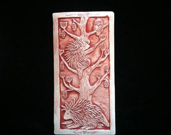 Porcupines and an Owl in a Pine Tree - 4x8 handmade ceramic tile in Moroccan Red with a glossy finish for wall hanging or installation