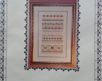 Just Nan TOMORROW's FLOWERS SAMPLER Charted Needlework Design Kit - Counted Cross Stitch Pattern Chart