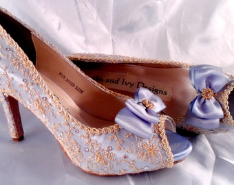 Gold Lace and Crystal Marie Antoinette Wedding Shoes, Bridal, Blue Wedding Shoes,  Bride, Downton Abbey Bridal Shoes, Vintage Lace