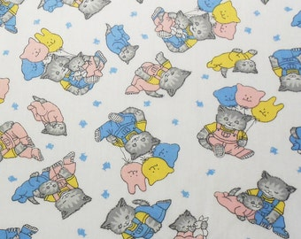 Grey Kittens with Ballons Fabric 1 Yard