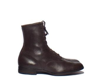 5 N | Women's Antique Brogue Cap Toe Brown Lace Up Ankle Boots