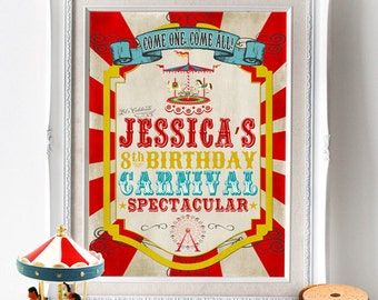 Vintage Carnival Party Sign Poster - INSTANT DOWNLOAD - Editable & Printable Party Decorations by Sassaby Parties