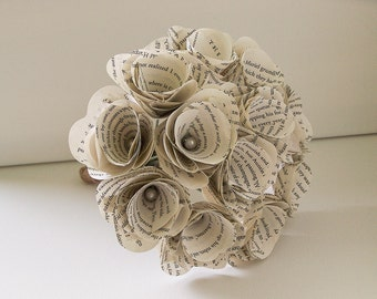 SALE -Book Page Bouquet  -Book Bouquet -Book Flowers -Paper Roses -12 Paper Roses -Storybook Wedding