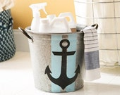 Anchor Galvanized Bucket - hand painted waterproof bucket for chic & practical home decor
