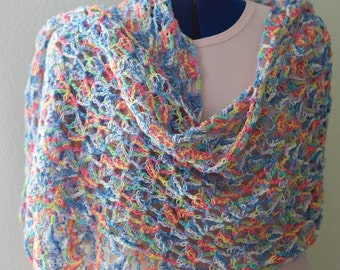 Pastel Rainbow Candy Coated Lightweight Crochet Lacy Shawl, Detailed Lace Summer Stole, Wearable Fiber Art