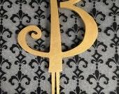 Gold Wedding Cake Topper Monogram Letter - Free Shipping