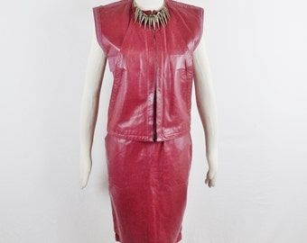 Vintage GIANNI VERSACE 80s STRUCTURED Leather 2Pc Space Age Cranberry Avant Garde Skirt and Top Size 42
