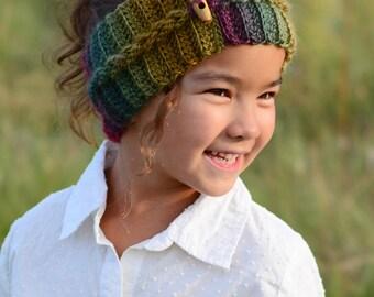 CROCHET PATTERN - Autumn Breeze Headwrap - crochet headband pattern in 5 sizes (Infant, Baby, Toddler, Child, Adult) - Instant PDF Download