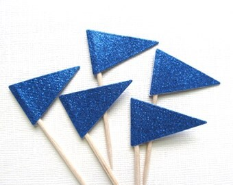 Blue Glitter Flag Cupcake Toppers, Party Decor, Double-Sided, Graduation, Weddings, Showers, Birthdays, Nautical,  Set of 15