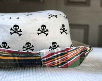 boy's bucket hat, patchwork plaid jolly roger, reversible, 5 sizes