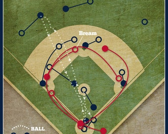 "Atlanta Braves Baseball Print ""Sid Bream's Slide"" Infographic MLB Poster in lightly textured greys, blues, and reds"