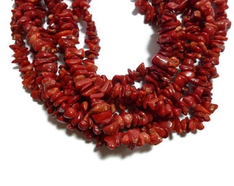 """Red Branch Coral - Chip or Nugget Bead - 16"""" Full Strand"""