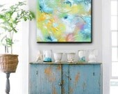 GICLEE PRINT of Abstract Painting LARGE Art Canvas Print Home Wall Decor Modern Coastal Blue Green Yellow Grey White Select Sizes -Christine