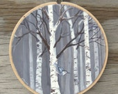 Birch Forest and Nuthatch Bird - Painted Embroidery Hoop Art - Made to Order