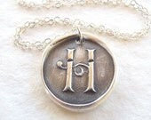 Wax seal necklace initial monogram jewelry pendant custom made from eco friendly recycled silver
