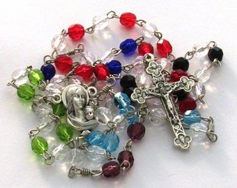 Pro-Life Multi-color Czech Glass Bead Handmade Catholic Rosary