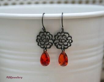 Orange Red Crystal Oxidized Sterling Silver Dangle Earrings