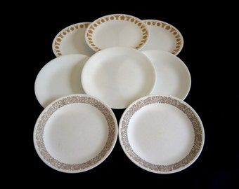 Corelle Luncheon Plates Butterfly Gold, Plain Winter White Frost, Woodland Brown Sandwich Plates Salad Plate Corelle Livingware (As-is)