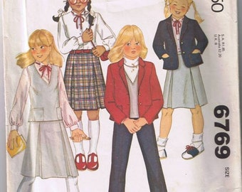 McCall's 6769 Children's Unlined Jacket, Vest, Skirt, & Pants - Size 5 - Cut and Complete