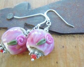 Pink Lampwork Flower Earrings Silver Cottage Garden