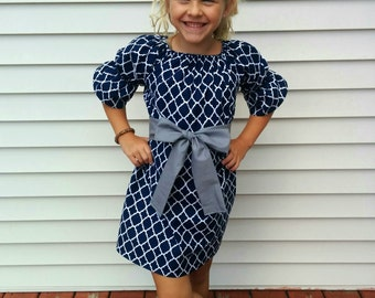 Girls Navy Lattice Print Peasant Dress with Gray Sash 0 3 6 12 18 24 2T 3T 4T 5/6 7/8 9/10 11/12 Sibling Sister Dresses Outfits Matching