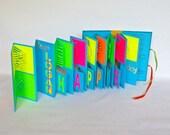 Birthday POP UP Accordion BOOk Card Custom Order ORIGINAL w/Hard Cover Binding Hand Cut In Neon Colors Pink, Orange, Green, Yellow Blue OOaK