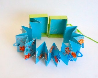 HAPPY 12th Birthday Wishes Accordion Book Card in A Box Handmade in Baby Blue Turquoise Orange and Lime Green Personalized CUSTOM ORDER OOaK