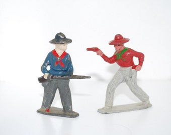Vintage Wild West Boys - Lead Hand Painted Toy Figures - J. Hill Co. - Set of 2