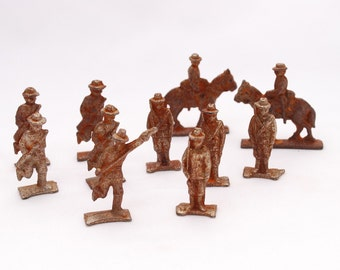 Vintage Grey Iron Cast Iron Soldiers Collection of 11 - WWI Style Doughboy Military Toy Figures - Distressed Rustic Chippy Paint Primitive