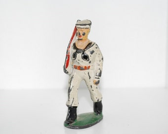 Vintage Marching Navy Soldier with Rifle - 1950's Lead Hand Painted Toy Figure