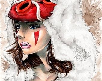 Princess Mononoke - Art Print - Illustrated by Jessica Thomas // <3