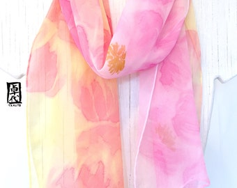 Silk Scarf Hand Painted, Pink Floral Scarf, Pastel Pink and Yellow Peony Scarf, Silk Chiffon Scarf, Silk Scarves Takuyo, 11x60 inches.