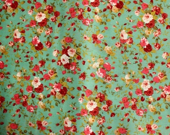 Green blue floral quilting cotton, craft cotton, Green blue flower fabric, UK shop