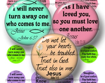 Christian, Bible Verse, 18mm Circles, Digital Collage Sheet, Instant Download, Printable, Digital Download, 18mm Round Images (No.2)