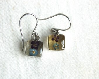 Resin Flower Dangle Earrings Vintage Mexican Sterling Silver Real Flowers Jewelry Blue Forget Me Not