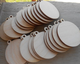 """Wood Ornament Tag, Pendant Circles, CHOOSE YOUR SIZE. D.I.Y Christmas Ornaments. 1/8"""" Thick, Laser Cut. Custom Orders Welcome."""